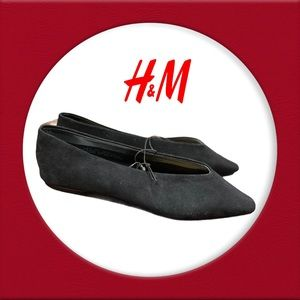 NWT H&M Black Suede Slip-on Pointed Toe Flats 6